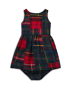 Ralph Lauren Girls' Tartan Patchwork Cotton Dress & Bloomers Set - Baby