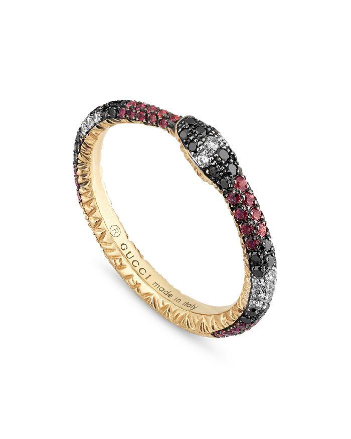 Gucci - 18K Yellow Gold Black & White Diamond Mixed Gemstone Ouroboros Ring