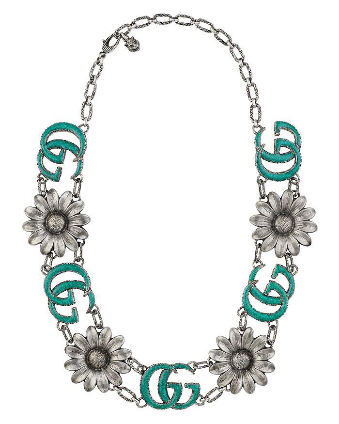 d96de1cd2d3 Gucci - Sterling Silver GG Marmont Flower Statement Necklace