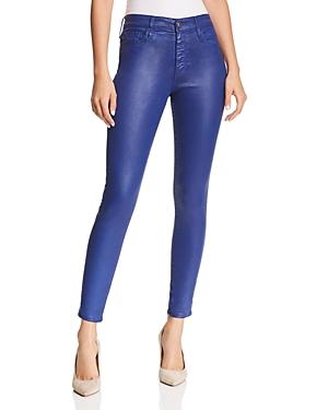 Ag Farrah Brushed-Sateen Ankle Skinny Jeans in Leatherette Egyptian Blue