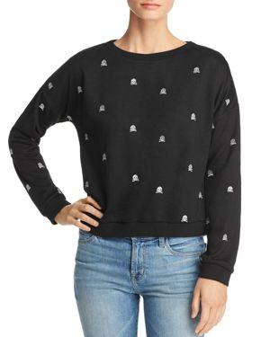 HONEY PUNCH Embroidered Skull Sweatshirt in Black