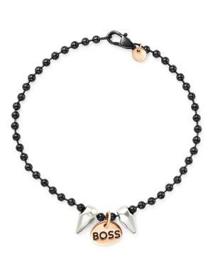 DODO Sterling Silver Boss Charm & Spike Component Everyday Bracelet in Multi/Black