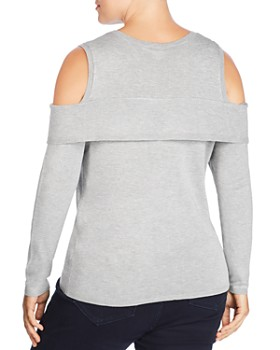 Lost Ink Plus - Cold-Shoulder Overlay Sweater