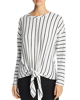 Coin - Brushed Tie-Front Striped Top