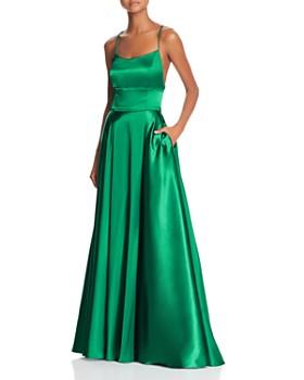 AQUA - Satin Cross-Back Gown - 100% Exclusive