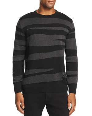 VESTIGE Textured Abstract Striped Sweater in Black
