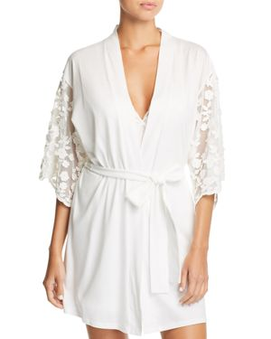 Alexiss Embroidered-Sleeve Robe, Ivory