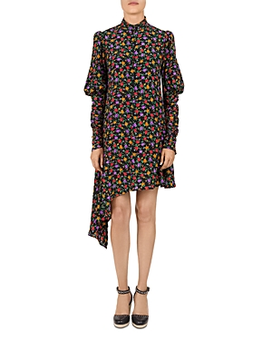 The Kooples FLORAL ASYMMETRIC SILK DRESS