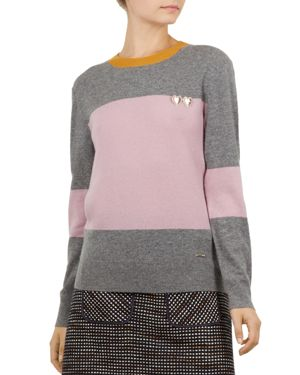 Colour By Numbers Bryonny Color-Blocked Cashmere Sweater, Grey Marl