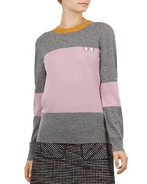 Ted Baker COLOUR BY NUMBERS BRYONNY COLOR-BLOCKED CASHMERE SWEATER