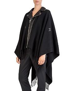 The Kooples - Studded Leather-Paneled Poncho