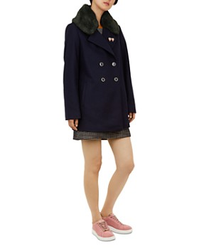 Ted Baker - Colour by Numbers Gaita Faux-Fur-Trimmed Peacoat