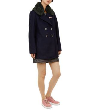 Colour By Numbers Gaita Faux-Fur-Trimmed Peacoat in Navy