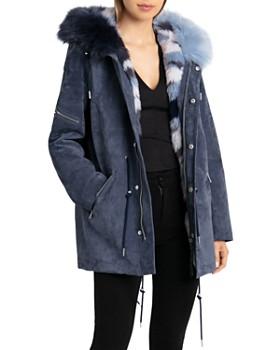BAGATELLE.NYC - Storm Faux Fur-Trimmed Suede Parka