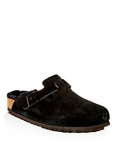 Birkenstock - Men's Boston Leather & Shearling Mules