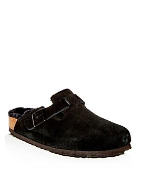 Birkenstock - Men's Boston Leather & Shearling Mules