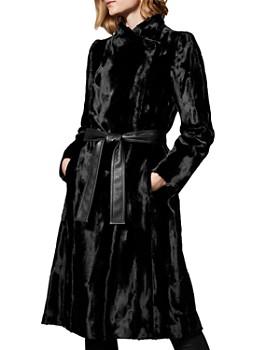 KAREN MILLEN - Belted Faux Fur Coat