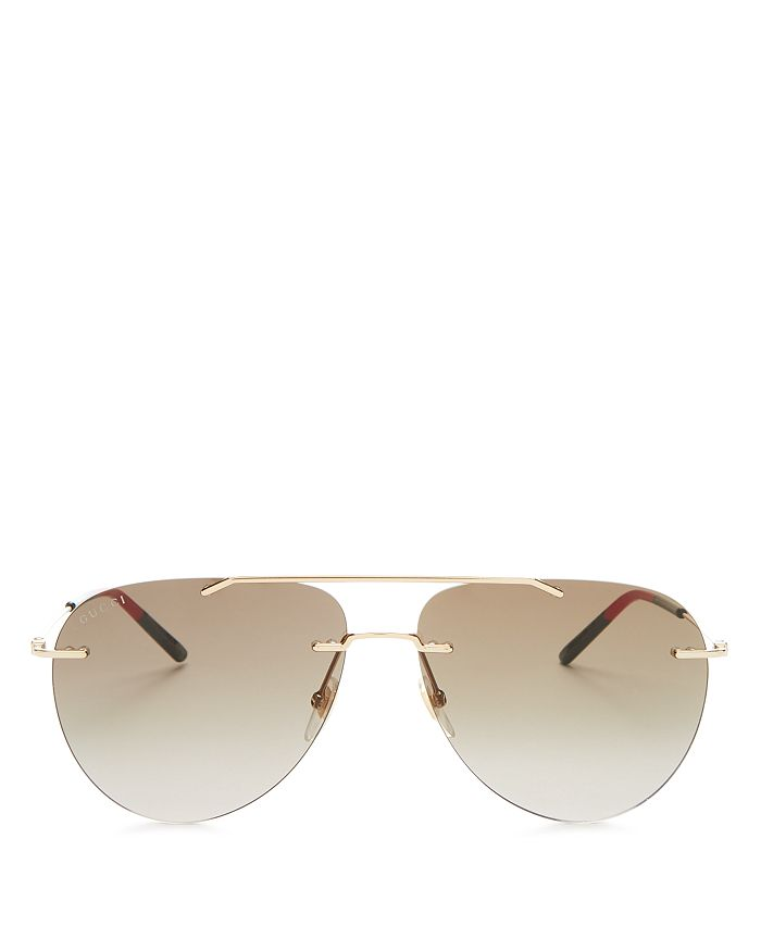 593e04e2aade Gucci Men's Brow Bar Rimless Aviator Sunglasses, 62mm   Bloomingdale's