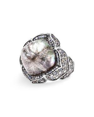 John Hardy 18K White Gold Multi-Stone Naga Ring with Black & Brown Diamonds