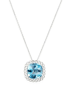 "Roberto Coin - 18K White Gold Ipanema Blue Topaz Pendant Necklace, 18"""