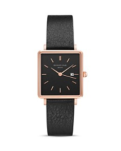 Rosefield - The Boxy Rose Gold-Tone Black Leather Watch, 26mm x 28mm