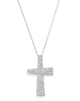 Roberto Coin - 18K White Gold Scalare Large Diamond Cross Necklace, 18""