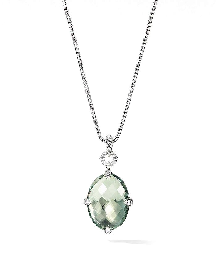 3d90ce7ff5d9 David Yurman - Sterling Silver Chatelaine Prasiolite Small Pendant Necklace  with Diamonds