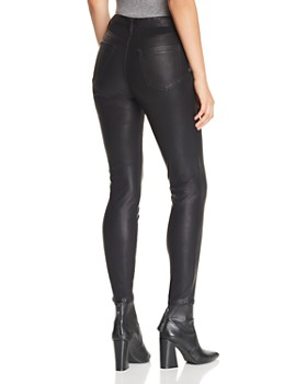 BLANKNYC - Button-Front Faux-Leather Skinny Pants in Daddy Soda - 100% Exclusive