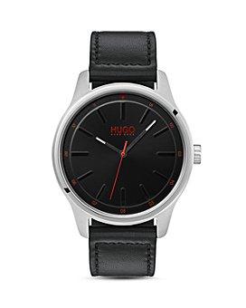 HUGO - #DARE Black Leather Watch, 42mm