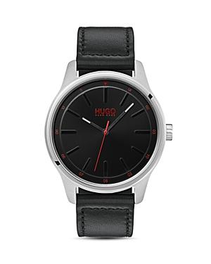Hugo #Dare Black Leather Watch, 42mm