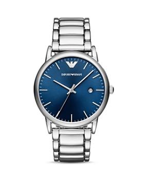 Emporio Armani - Blue Dial Silver-Tone Bracelet Watch, 43mm