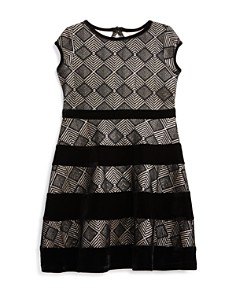 US Angels - Girls' Geometric Metallic Dress with Velvet Stripes - Little Kid