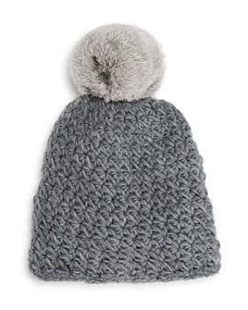 8e7eed0caa4 Surell - Girls  Star-Knit Beanie with Fur Pom-Pom