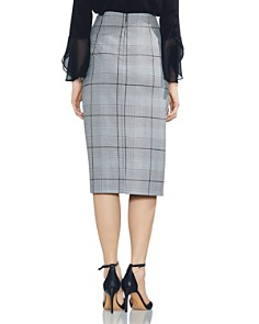 VINCE CAMUTO - High-Waist Glen Plaid Midi Skirt