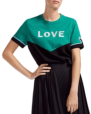 MAJE TOEVI EMBROIDERED LOVE TEE