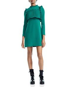 Maje - Roumba Ruffled Pleated Bodice Overlay Dress