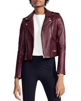 Maje - Basilta Cropped Moto Jacket in Burgundy