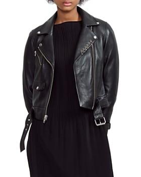 Maje - Boilt Belted Leather Moto Jacket