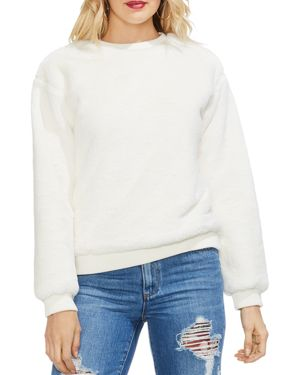 VINCE CAMUTO Faux-Fur Ribbed Hem Sweatshirt in Antique White