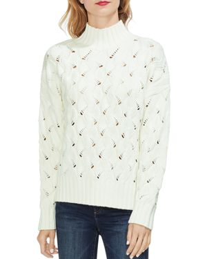 VINCE CAMUTO Texture Stitch Mock Neck Sweater in Antique White