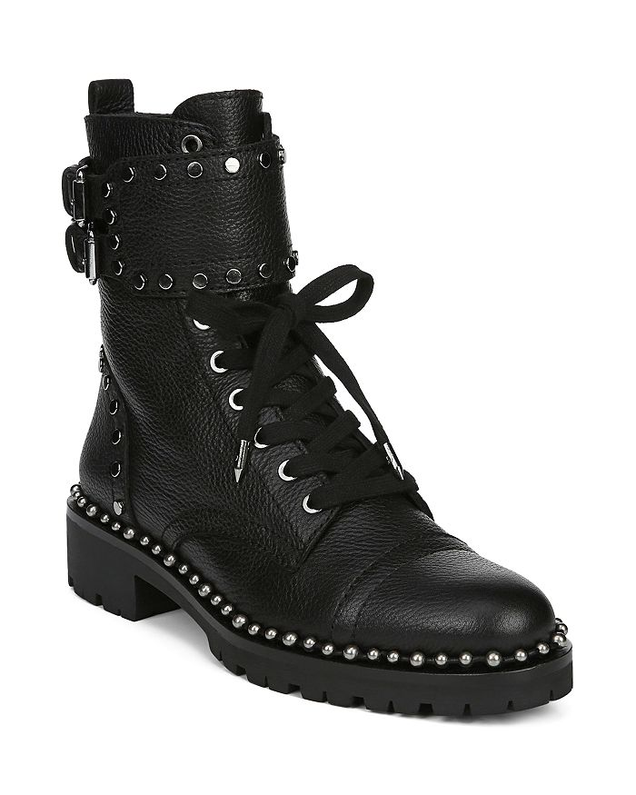 18a0998c85045 Sam Edelman Women s Jennifer Studded Leather Combat Booties ...