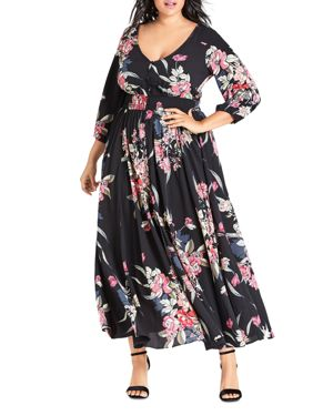 City Chic Plus Misty Love Floral-Print Maxi Dress