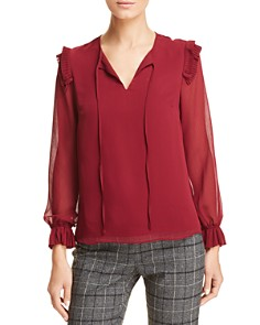 T Tahari - Pleated Ruffle Blouse