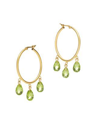 Garnet Briolette Hoop Earrings in 14K Yellow Gold - 100% Exclusive