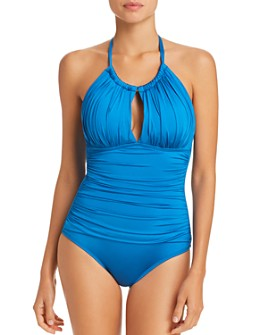 Kenneth Cole - Sexy Solids High Neck One Piece Swimsuit