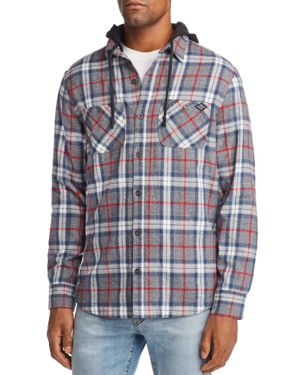 FLAG & ANTHEM Farson Layered-Look Hooded Shirt Jacket in Gray Heather Plaid