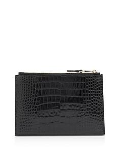 KAREN MILLEN - Medium Croc-Embossed Leather Pouch