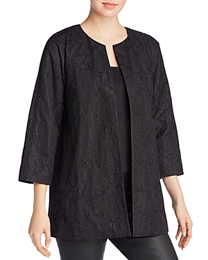 Eileen Fisher Embroidered Open Front Jacket