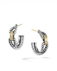 David Yurman - Crossover Collection Cable Loop Hoop Earrings with 18K Yellow Gold