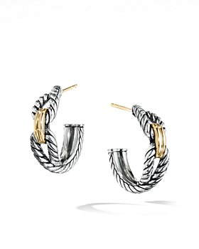 David Yurman - Cable Loop Hoop Earrings with 18K Gold